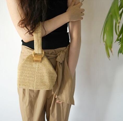 編織包 韓國包包圓環扣可愛編織籃子手拎包小方包草編包草編包 格蘭小舖