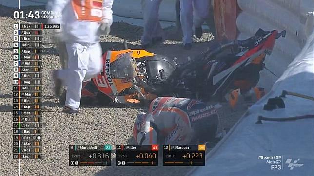 Hasil Latihan Bebas 3 MotoGP Spanyol 2021: Marc Marquez Kecelakaan Hebat, Motornya Hancur
