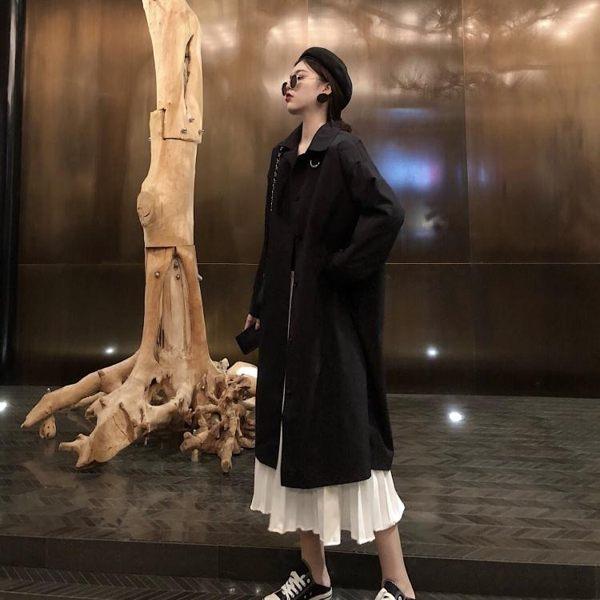 春秋女2019復古黑色寬鬆薄款大衣中長款風衣韓版過膝學生外套