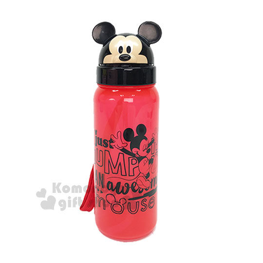 〔小禮堂〕迪士尼 米奇 造型吸管水壺《黑紅.大臉.字母.500ml》 4719585-00274