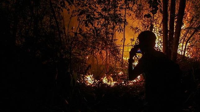 A journalist take a picture  a bush fire on peatlands in Pekanbaru, Riau province, Indonesia March 16, 2019. The 107 hotspots comprised 27 in Bengkalis, 20 in Meranti Islands, 19 in Pelalawan, 13 in Dumai, 11 in Rokan Hilir, seven in Siak, five in Indragiri Hulu, two each in Indragiri Hilir and Rokan Hulu, and one in Pekanbaru. ANTARA/Rony Muharrman