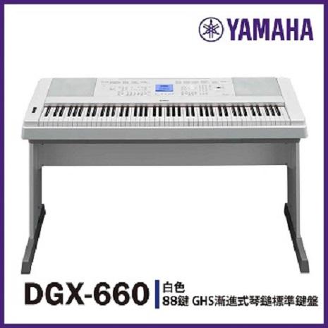 【YAMAHA】DGX-660標準88鍵數位鋼琴/白色/不含踏板/公司貨保固