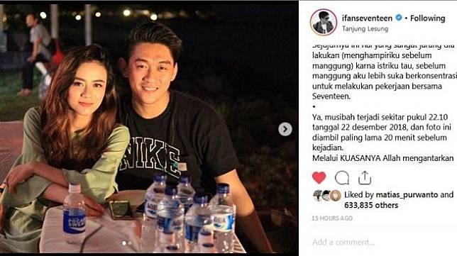 Ifan Seventeen mengunggah foto bersama istri, Dylan Sahara. Foto tersebut diambil hanya beberapa menit sebelum tsunami merenggut nyawa tiga personel Seventeen dan Dylan Sahara. (Instagram Ifan Seventeen)