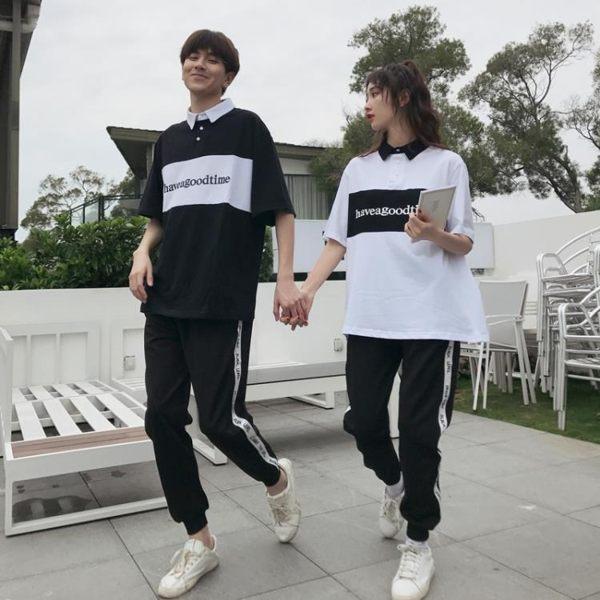 情侶裝套裝短袖T恤運動褲班服【聚寶屋】