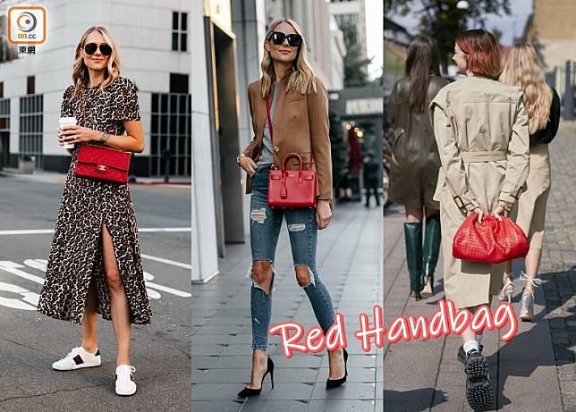 紅色手袋不但適合新年使用,在新年過後都用得,一年四季襯衫都很時尚。(互聯網)
