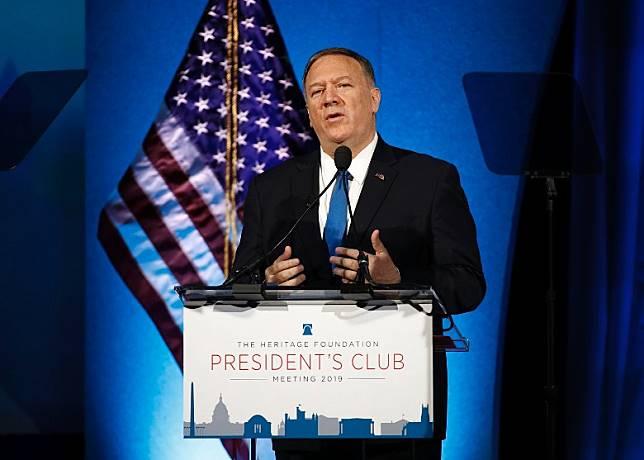 蓬佩奧出席智庫傳統基金會的年度總裁俱樂部會議。(美聯社圖片)