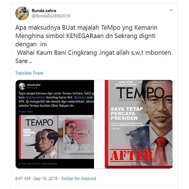 Gambar tangkapan layar unggahan di Twitter yang menyebut cover Majalah Tempo edisi 16 September 2019 diganti.