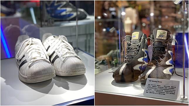 (左)2017年潘啟情見傳媒,拳館負責人見他連一對「似樣」的鞋都沒有,就送了這對 Adidas Superstar 給他。(右)潘啟情第一對正式的「拳擊鞋」,陪伴他創出各場好成績。
