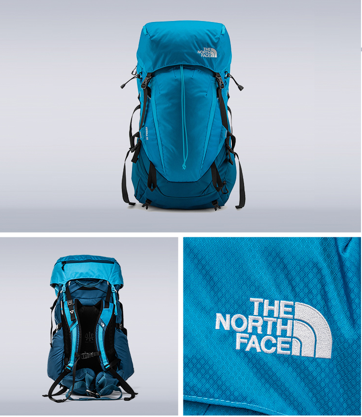 The North Face北面男女款藍色專業登山後背包