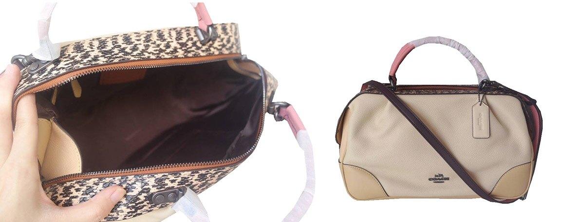 ~雪黛屋~COACH 枕頭包中容量國際正版保證進口防水防刮皮革拉鍊式主袋品證購證塵套提袋等候10-15日C696221