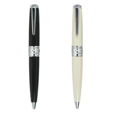全金屬銅製筆身、質感精緻 搭配方晶鋯石華麗優雅 旋轉式原子筆 原廠禮盒包裝,送禮大方