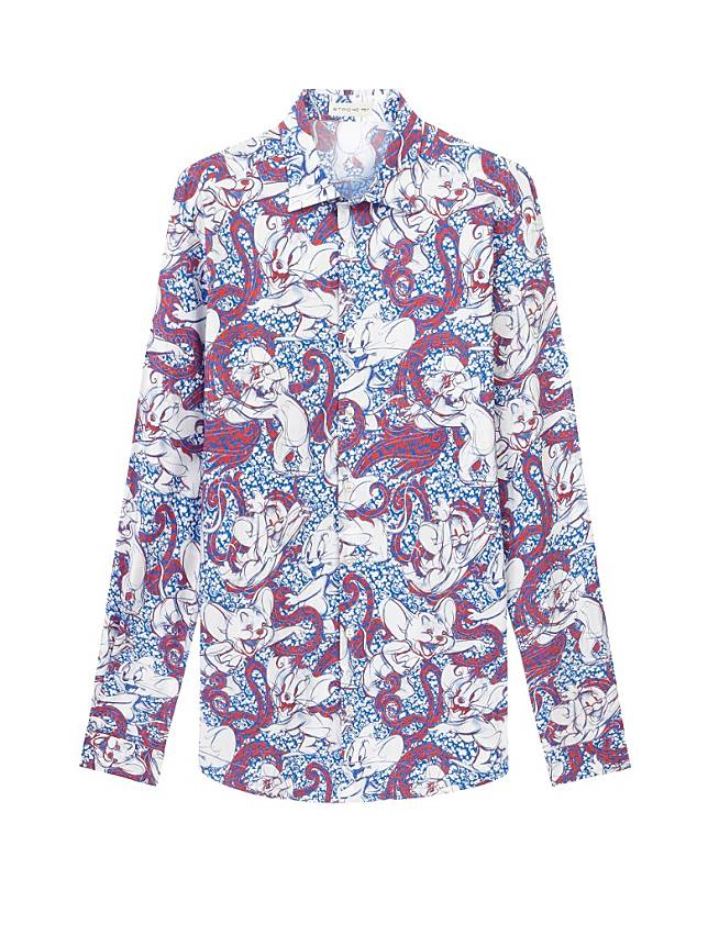 ETRO × TOM AND JERRY紫色腰果花圖案恤衫 (互聯網)