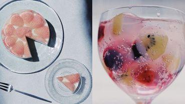 夏天必學「透明甜點」簡易食譜一看就懂!草莓蛋糕加上果凍瞬間仙氣爆棚、水果冰磚氣泡飲超唯美啊~