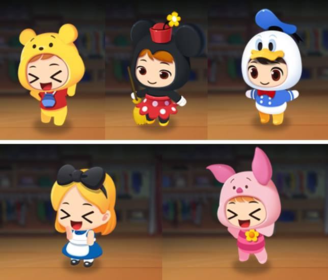 角色換上不同迪士尼人物造型,立刻變得超可愛呢!