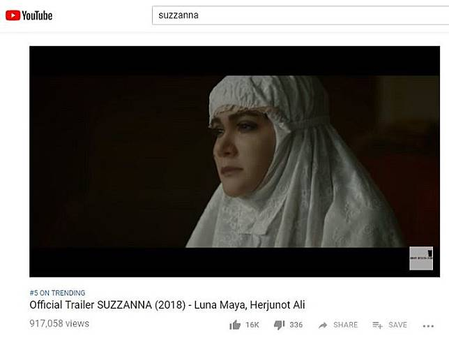trailer film Suzzanna masih jadi trending nomor 5 di Youtube