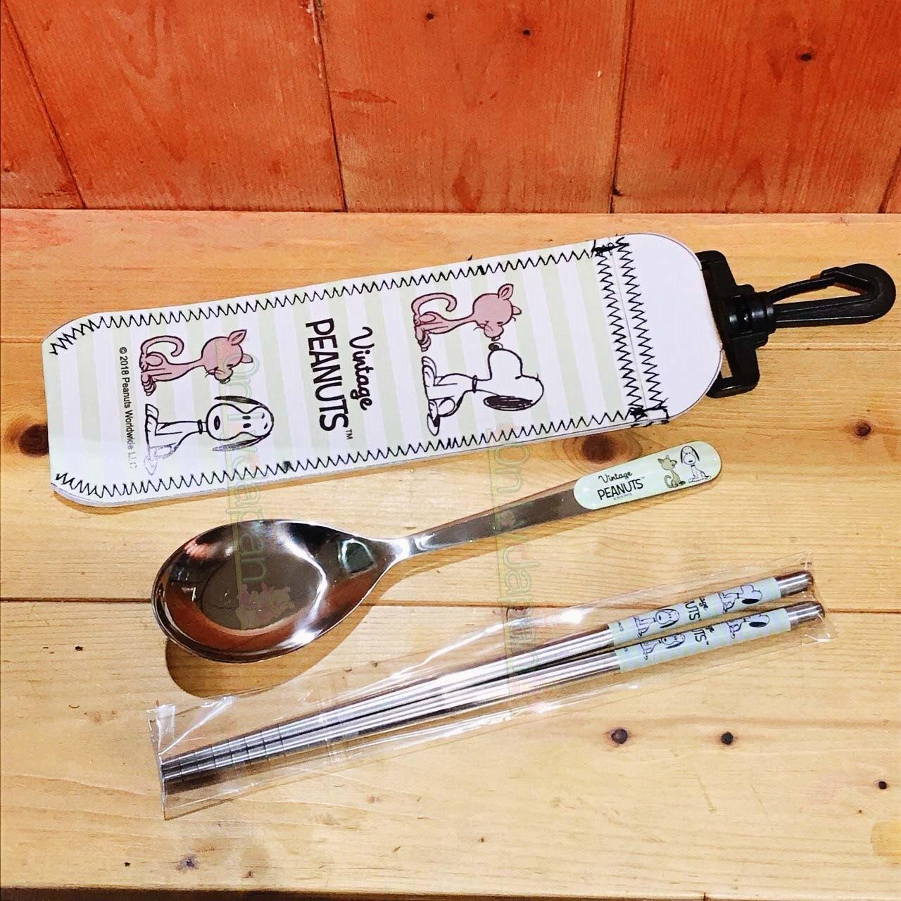 【真愛日本】19060100013 掛勾式皮套不鏽鋼湯筷組-SN親愛 史努比snoopy 筷子 湯匙 不鏽鋼餐具 環保餐具 環保筷