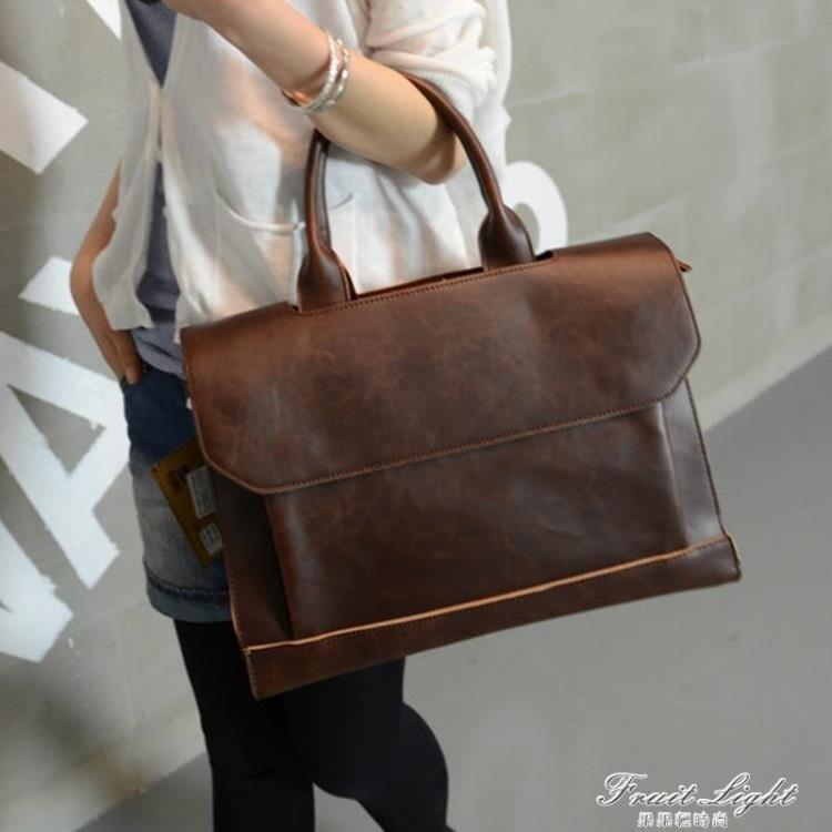 潮流新款潮包包商務手提包斜背包休閒復古側背包 公文包 休閒包女 樂樂百貨