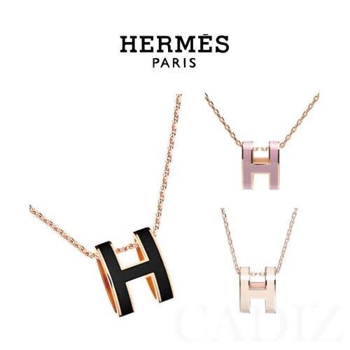 歐洲正品  HERMES Logo經典Pop H立體簍空橢圓項鍊 H147991FP