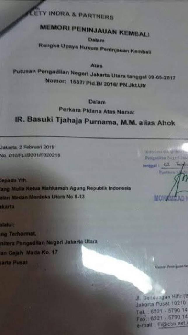 Beredar salinan berkas yang diduga memori peninjauan kembali (PK) kasus pidana penodaan agama atas nama Basuki Tjahaja Purnama alias Ahok kepada Mahkamah Agung RI. Dalam berkas yang diserahkan melalui PN Jakarta Utara pada 2 Februari 2018, itu tercantum nama Law Firm Fifi Lety Indra & Partners.