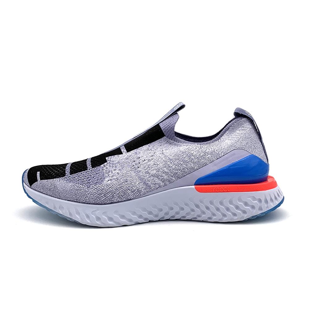 Nike Epic Phantom React 男慢跑鞋-CI1291400-藍灰著感柔軟,捨去鞋帶採用懶人鞋風格,讓你一穿上即刻就能出發。通風 Flyknit 和合成材質鞋面內,如襪子般穩固貼合,宛