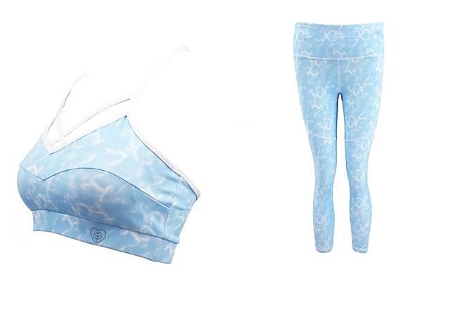 Nature粉藍色葉子和海洋花圖案運動胸圍及緊身褲(互聯網)