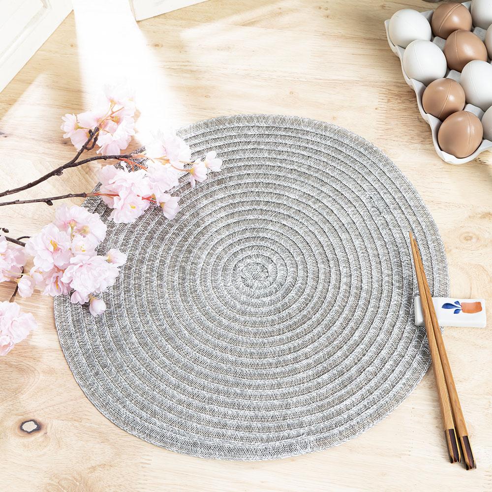 秋穗圓滿編織餐墊-白灰38cm