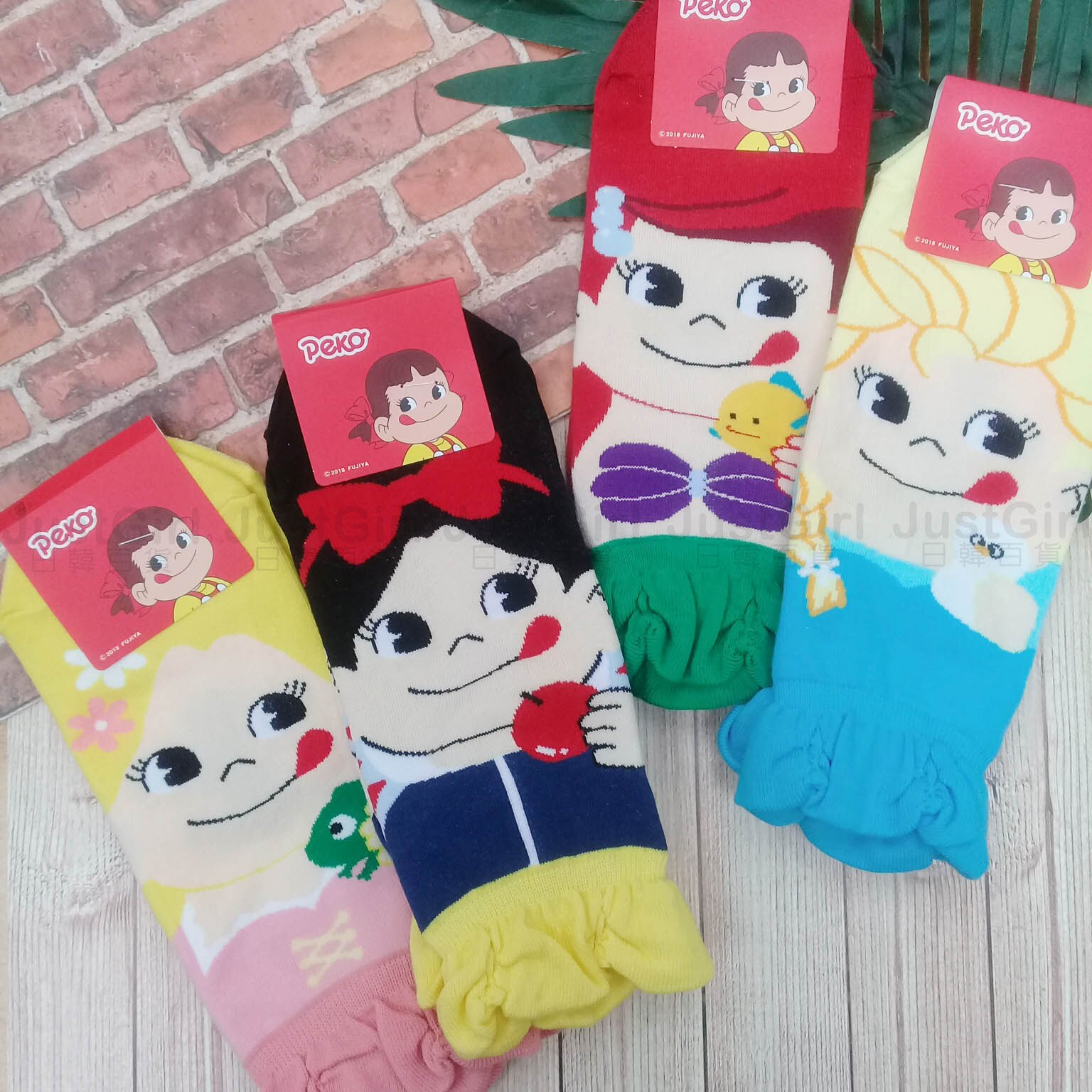 韓國襪 peko 牛奶妹 迪士尼公主 ELSA 白雪公主 美人魚 造型襪子 短襪 船型襪 正版授權 Justgirl。人氣店家JustGirl日韓百貨的有最棒的商品。快到日本NO.1的Rakuten樂