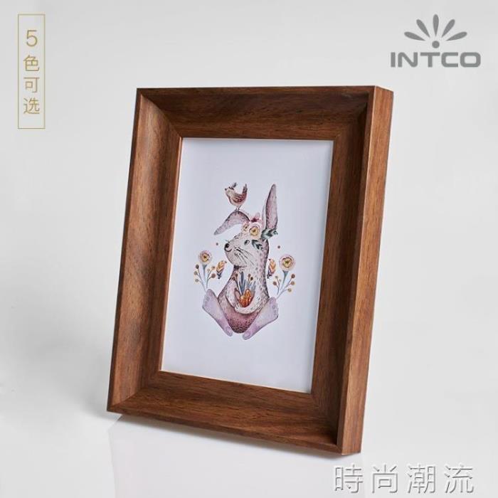 相框北歐立體擺台4寸6寸7寸10支架創意照片相架實木質感唇印像框