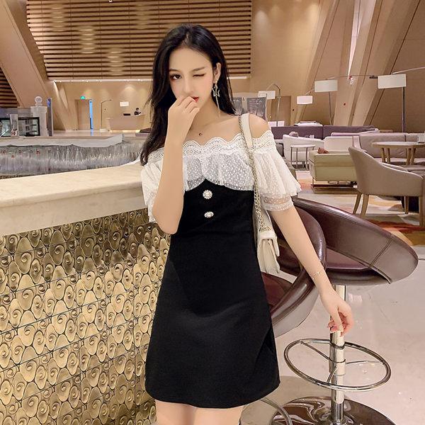 VK精品服飾 韓國風名媛一字領露肩氣質小香風短袖洋裝