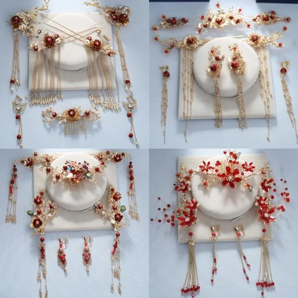 2018新款新娘中式紅色鳳冠頭飾耳環古裝流蘇秀禾禮服婚禮結婚發飾