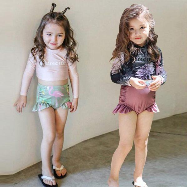 兒童泳衣兒童泳衣女孩長袖防曬分體女童可愛裙式公主寶寶親子母女泳裝 嬡孕哺
