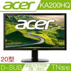 ◎支援VGA(D-Sub)|◎1366x768 60Hz解析度|◎可壁掛 | 三年保固品牌:Acer宏碁型號:KA200HQ20型螢幕尺寸:20吋LCD電腦螢幕螢幕尺寸說明:46.34x36.3x16