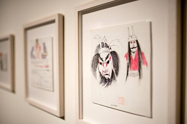 A picture taken on November 20, 2019 shows frames displayed at the 'Japanese Notebook' exhibition showing more than 100 sketches by late Oscar-winning Polish film and theater director Andrzej Wajda from his trips to Japan at the Manggha Museum of Japanese Art and Technology in the southern city of Krakow, Poland.