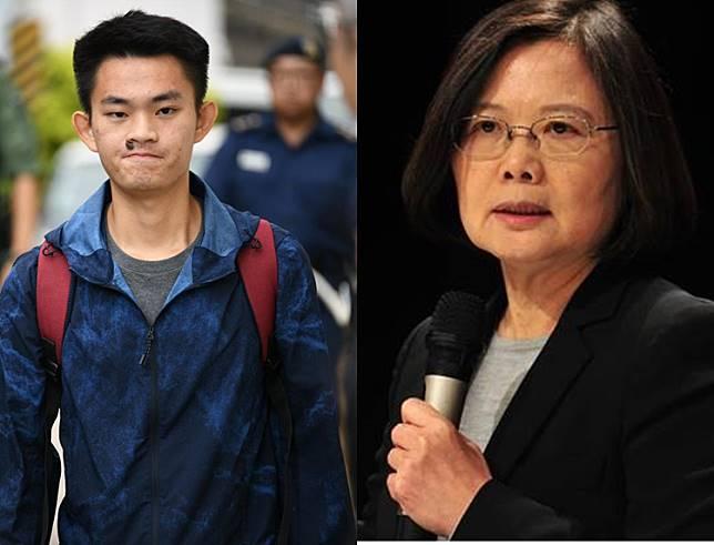 蔡英文(右)表示,陳同佳(左)案只有逮捕沒有自首問題。 資料圖片