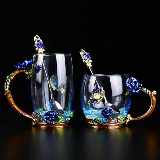 琺瑯彩水杯玻璃茶杯子創意潮流玫瑰花茶杯貓爪杯ins走心女朋友