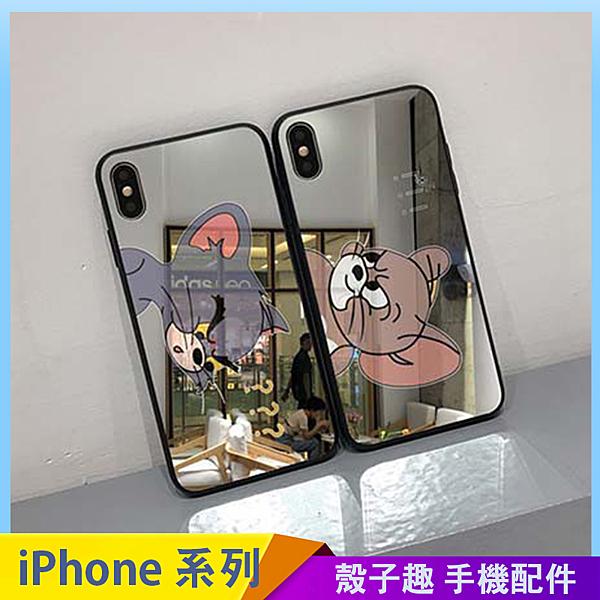 美式卡通殼,湯姆貓與傑利鼠,鏡面玻璃殼。 蘋果型號:iPhone6、iPhone7、iPhone8。