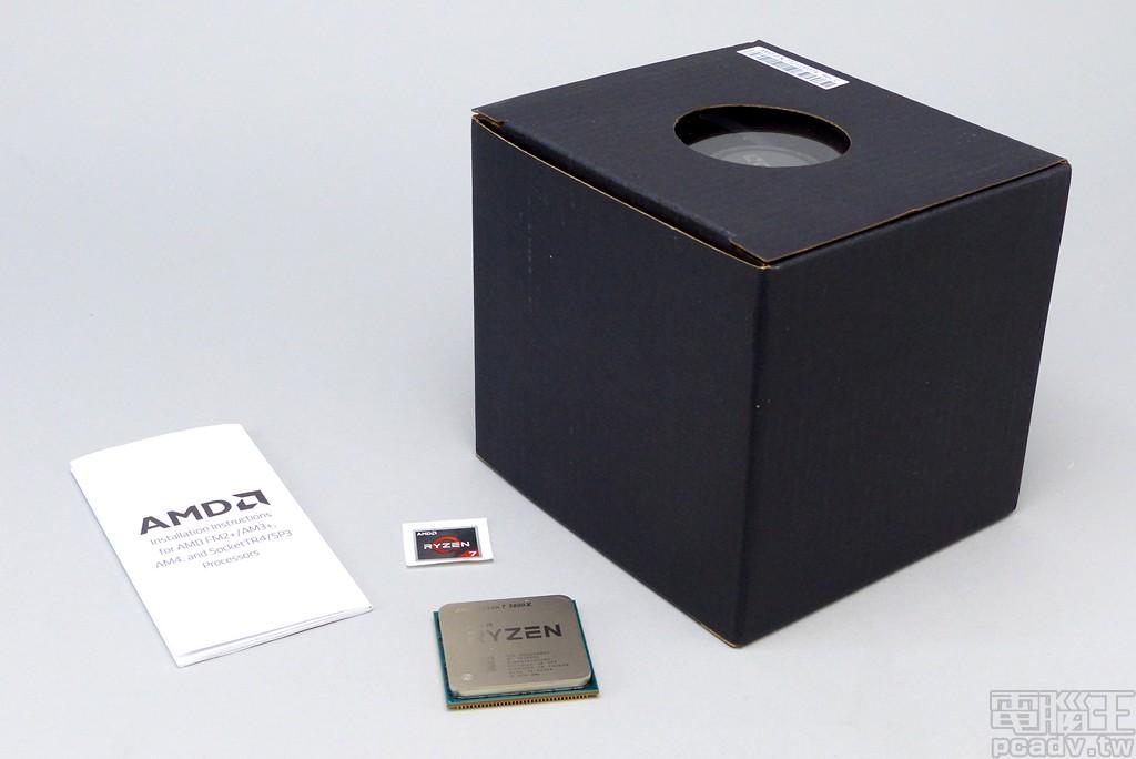 ▲ Ryzen 7 3800X 盒裝內容物一覽,包含處理器本體,Ryzen 7 貼紙、安裝說明書、散熱器。