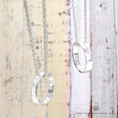 訂製對戒鍊 情侶對戒 4mm平版素戒 純銀戒指 純銀項鍊