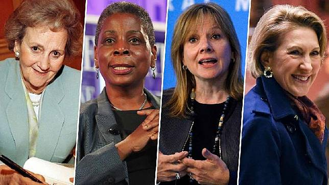 Dari kiri ke kanan: Katharine Graham CEO The Washington Post (1972); Ursula Burns, CEO perempuan Xerox dan CEO Afrika-Amerika pertama (2009); Mary Barra CEO General Motors (2013); Carly Fiorina CEO Hewlett-Packard (1999).[CNN]