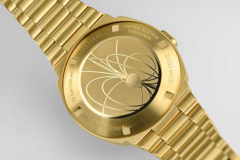 每只金色限量HAMILTON「PSR」腕錶腕錶錶背都有專屬編號。