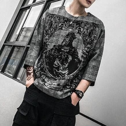 FINDSENSE品牌 時尚潮流 型男 酷 寬鬆 國王KING 五分袖 中袖 短