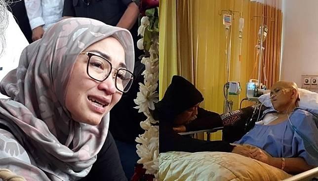 Putri kedua Indrio Warkop Satya Paramita Hada Dwinita tidak bisa menahan air mata saat menyaksikan p