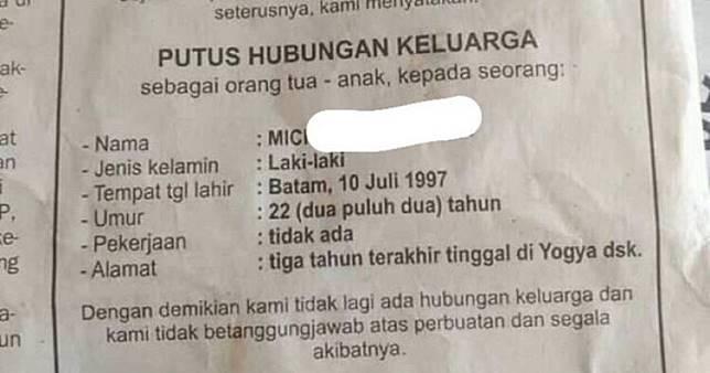 Duh, cowok ini dicoret dari Kartu Keluarga via pengumuman koran