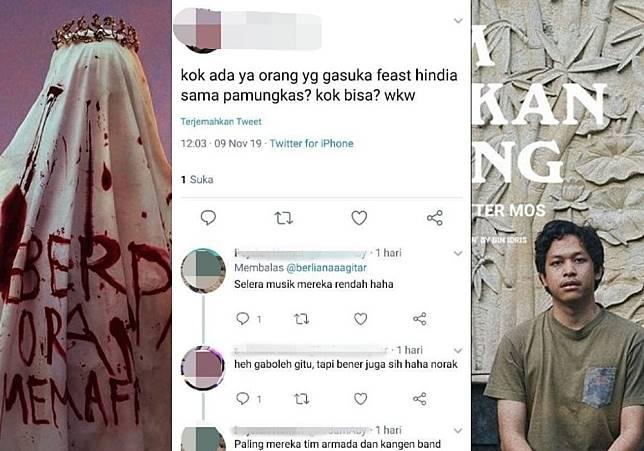 Kolase fans .Feast toxic, cover album Beberapa Orang Memaafkan, dan single Jam Makan Siang - Hindia
