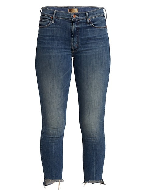 These skinny cropped jeans have step-hem cuffs with frayed edges.; Five-pocket style; Zip fly with b