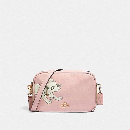 COACH 限量款 粉色 Disney 忠狗款雙拉鏈相機斜背包-91125-IMQAA