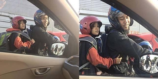 Potret ayah dan anak di tengah kemacetan (Twitter/Lexandroi)