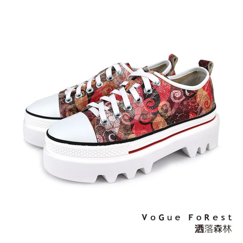 【VoGue FoRest】時尚潮流印花 厚底鞋 印花鞋面造型帆布 搭上 厚底鉅齒造型 , 超吸睛大膽造型設計 為帆布鞋注入新的元素丹寧牛仔、休閒率性 百搭款#洒落森林 #VoGue FoRest #