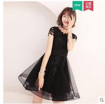 小鄧子2018新款夏季學生生日派對黑色短款顯瘦少女名媛洋裝小禮服連衣裙