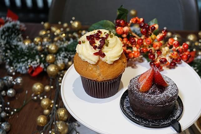 香橙紅莓鬆餅(左)及士多啤梨朱古力流心蛋糕(右)